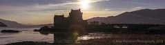 Sunset at Eilean Conan Castle, Highlands, Scotland (AnjaIrene_S.F.) Tags: eilean donan castle scotland highlands sun flare landscapes landschaften