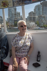 Mum on the False Creek Ferry to Granville Island (_K1_1770) ([Rossco]:[www.rgstrachan.com]) Tags: britishcolumbia canada granvilleisland vancouer holiday mun publicmarket vacation vancouver ca
