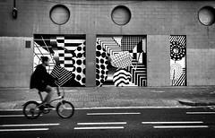 Beautiful street! (nuriapase) Tags: poblenou barcelona catalunya street streetphotography blackandwhite monocrome contrast geometry bike streetart art creative iphone building facade wall