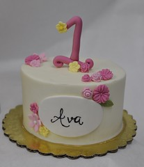 1st birthday smash cake (jennywenny) Tags: smash first birthday cake flowers pink yellow calligraphy