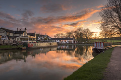Foxton Locks Sunset (John__Hull) Tags: landscape waterscape sunset canal grand union leicestershire foxton locks boats reflection public houses path grass clouds sky waterway nikon d7200 sigma 1020mm england uk