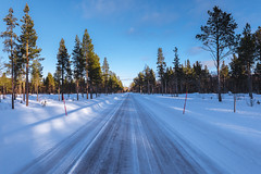 Towards the world of ice and snow (Sizun Eye) Tags: ice snow winter road perspective pines trees forest alta lapland norway finnmark shadows sun sizuneye nikond750 d750 nikon tamron tamron2470mmf28