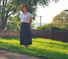 Skirt and Blouse (justplainrachel) Tags: justplainrachel rachel cd tv crossdresser trans transvestite blouse skirt tartan plaid blacwatch green selfie selfportrait