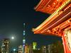 Temple, Sky Tree, and Full Moon (Nana* <salala817>) Tags: asakusa temple sensoji tokyo japan skytree スカイツリー 浅草寺 浅草 東京 寺 moon fullmoon 満月 月