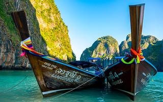 Long-tail boats in Maya Bay