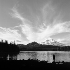 All You Need is a Spark (Aaron Bieleck) Tags: hasselblad500cm 120film analog 6x6 square film filmisnotdead hasselblad mediumformat wlvf sparkslake mountain landscape sunset bw blackandwhite sarah oregon pnw pacificnorthwest southsister deschutesnationalforest 60mmct