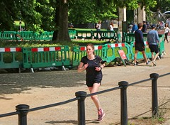Rotten Row Runner (Waterford_Man) Tags: girl shorts run runner running jog jogger jogging sand trees people path park london candid hot