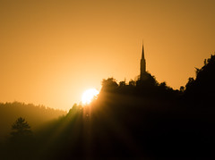 Burning church (kewlscrn) Tags: burning church sunset sonnenuntergang kirche domatems domat ems remo bivetti kewlscrn nikon nikkor 300mm 14000 iso800 f32 scene lka landscape sun trimmis graubünden schweiz chur beautiful composition light lights