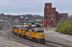 "Northbound Manifest in Kansas City, MO (""Righteous"" Grant G.) Tags: up union pacific railroad railway locomotive train trains north northbound emd power manifest freight kansas city missouri ge"