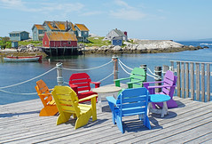 DSC00496 - Peggy's Colour.... (archer10 (Dennis) 154M Views) Tags: fishing sony a6300 ilce6300 18200mm 1650mm mirrorless free freepicture archer10 dennis jarvis dennisgjarvis dennisjarvis iamcanadian novascotia canada peggyscove chairs colours harbour view