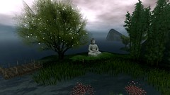 Joy Follows Like A Shadow That Never Leaves (Loegan Magic) Tags: secondlife buddha buddhism tree statue outdoor landscape water clouds grass trees sky