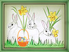 Happy Easter and White Rabbits for a happy month. (Sandi (VERY busy lady)) Tags: threers easter greeting sketch