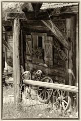No wheels on my wagon, and I'm still rolling along (WibbleFishBanana) Tags: österreich austria tirol tyrol wood cabin hut wagon wheels