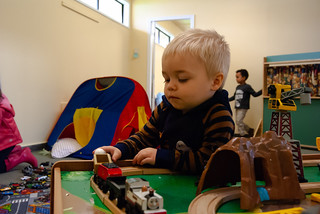 Contemplating toy train