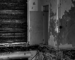 Abandoned South Carolina Mental Hospital: Door to Nowhere (that_damn_duck) Tags: blackwhite nikon monochrome abandoned urbex urbanexplorer asylum southcarolinamentalhospital hospital door ledge decaying bw blackandwhite