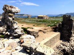 a tower view toward the Church of the Metamorphosis Sotiros IMG_0929 (mygreecetravelblog) Tags: greece peloponnese messenia messinia methoni methonicastle castle fortress archaeologicalsite historicsite ruins ancientruins ancientgreece ancientgreekruins outdoor landscape church greekchurch greekorthodoxchurch churchofthemetamorphosissotiros sotiroschurchmethonicastle methonicastlechurch