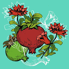 Hand drawn pomegranate and bunch with flowers (andreaeskin) Tags: illustrations pomegranate garnet tree fruits vector symbol art branch plant nature cultures styled silhouette backgrounds retro decoration ethnicity imagery deco asia seed ornate food japan chinese 19401980 blossom fashion retrostyled beauty pattern floral flowers sign design elegance japanese asian leaf head vegetables growth