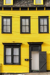 Yellow & Black House (Karen_Chappell) Tags: yellow black house windows door downtown city urban home rowhouse jellybeanrow stjohns newfoundland nfld canada atlanticcanada avalonpeninsula paint painted wood wooden architecture clapboard
