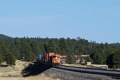BNSF 5777 at Bellemont Az. (NikonRailfan24) Tags: bnsf gevo stacktrain intermodal arizona flagstaff williams bellemont
