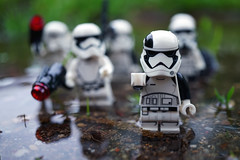 Recon Duty (Gary Burke.) Tags: lego stormtrooper empire imperial starwars movie soldier villain evil lucasfilm scifi film sciencefiction legofigures minifigures armor military lucas character lucasfilms imperialstormtrooper galacticempire toy legominifigures toys toyphotography legophotography legobricks sony a6300 mirrorless sonya6300 firstorder water rain weather macro walk hiking walking hike soldiers