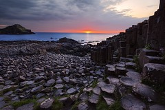 Giants Causeway sunset (wishiwsthr) Tags: giants causeway ireland northern sunset stones volcanic basalt columns iconic unique landscape ocean north sea wildflowers island