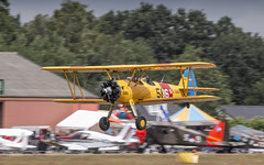 Boeing Stearman lowpass take off (Nicky Boogaard) Tags: cca2018 classiccarsandaeroplanes seppe bredainternationalairport ehse 17062018 n74650 boeingstearman stearman boeing