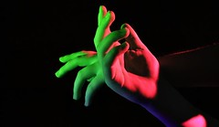 (josie.bell) Tags: green pink blue black colour lighting shadow hands hand arm fingers