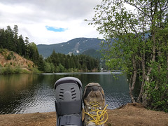 Crutching to the lake was worth it (Ruth and Dave) Tags: ruth invalid whistler whistlerblackcomb alphalake tamarisk injured broken ankle fracture bootcast cast boot airboot walkingcast relaxing recuperating lakeshore lakeside
