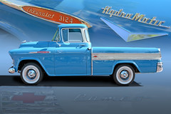 Blue Heaven 57 - 1957 Chevy Cameo Pickup (Brad Harding Photography) Tags: 1957 57 chevrolet chevy cameo pickup truck utility antique whitewalls twotone classic vintage carshow crowncenter kansascity missouri chrome hydramatic 3124 trifive collage