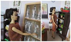 2. Tidying her classroom (Foxy Belle) Tags: school classroom science biology barbie diorama desk 16 scale brick walls playscale ooak scene doll dollhouse vintage last day teacher