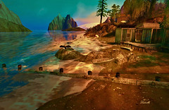 Sunset light (Milla DelRay) Tags: landscapes landscape sl secondlife nature sea ocean wave waves bird birds shack shacks house houses boat boats beach beaches water tree trees sky skies cloud clouds rock rocks mountain mountains sand