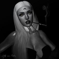 ɴυɢɢeт в/w (♣♦ Lilly von Nekro ♦♣) Tags: art dark babes fantasy secondlife sl second sexy smoke 3d girls night beauty bw illustration firestorm virtual life piercing people pose music vintage sweet