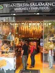 Spanish Delicatessen, Central Madrid (d.kevan) Tags: madrid spain centralmadrid delicatessen food people hams sausages regionalproducts salamanaregion