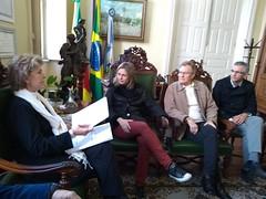 14/06/18 - Visita a prefeita de Pelotas/RS, Paula Mascarenhas. Com o vice-prefeito, Idemar Bartz e o vereador, Luís Henrique Viana.