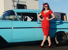 Holly_9207 (Fast an' Bulbous) Tags: pinup model girl woman hot sexy chick babe beauty classic american car chevy oldtimer wife long brunette hair red wiggle dress people outdoor high heels shoes stockings