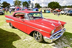 57 Chev in Australia (*SIN CITY*) Tags: 57 chev 57chev chevy chevrolet car transport vehicle australia qld carshow red beautiful fast v8 4door custom americancarsinaustralia american motor wheels nicecar