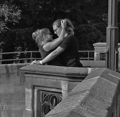 It must be love. (ChrisGibson2016) Tags: love bw black white affection togetherness loving wanting desire canon shot photography moments women woman girls action eyes hair lust kisses kiss secrets open outdoors blind glasses nurnberg deutschland bavaria germany noir blanco dark light grey gray