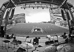Red Rocks Ryan Adams setup (Dave Kehs) Tags: red rocks colorado ryan adams amphitheater tour roadie drum tech venue live co ca dave kehs bingham canon 7d fish eye wide angle black white blackwhite