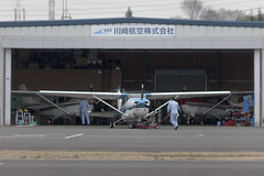 A SMALL AIRPORT, SOME PARKS AND CLOUDS - CL (Jussi Salmiakkinen (JUNJI SUDA)) Tags: chofu tokyo japan cityscape park airport sky aircraft wood airplane landscape tama 調布 飛行場 空港 林 森 空 武蔵野 多摩 東京 日本 風景 april clouds spring 2017 huhtikuu hanger