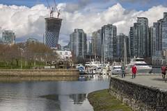Walking The Wall (Clayton Perry Photoworks) Tags: vancouver bc canada spring explorebc explorecanada skyline seawall people vancouverhouse falsecreek boats
