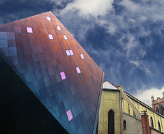 Cubist (studioferullo) Tags: abstract architecture art beauty bright building colorful colourful colors colours contrast dark design detail downtown edge light metal outdoor outside perspective pattern pretty scene shadow sky study sunlight sunshine street texture tone weathered world sanfrancisco california cube window cloud church geometry lines jewish museum
