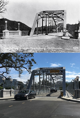 Before and after of the Healdsburg bridge