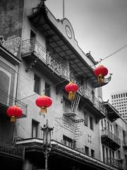 Red Lanterns - Chinatown- San Francisco, CA (vwcampin) Tags: iphoneology iphonology iphoneographer iphoneography chineselanterns chinese redlanterns lanterns red lantern california sanfrancisco chinatown blackandwhite colorsplashed colorsplash