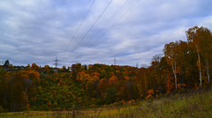 Scarlet valley (МирославСтаменов) Tags: russia moscowregion pushchino hill valley cutting powerline autumn edge forest fall cloudscape