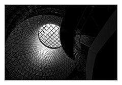 As the Light Shines from Above (bprice0715) Tags: canon canoneos5dmarkiii canon5dmarkiii architecture architecturephotography blackandwhite blackwhite bw monochrome mono city travel fultoncenter nyc ny newyorkcity lowkey highcontrast circles shapes curves lines fineart