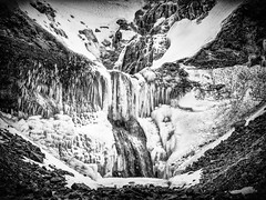 Froze in motion (JRPics.) Tags: lights iceland west waterfall nature mountains ice rocks frozen north snow