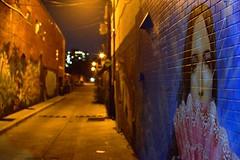 Alleyway Art, Seen from College Street, 2018 (Tania A.) Tags: alleywayart collegestreet alleyway night building alley brickwall wall grafitti