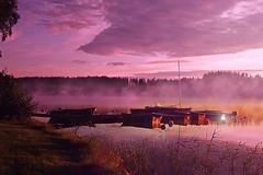 Day breaking (BirgittaSjostedt) Tags: landscape water lake dawn boat bridge haze fog color magic night summer