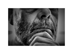 Just another Thursday night ! (CJS*64) Tags: face beard portrait head man male person people blackwhite bw blackandwhite whiteblack whiteandblack mono monochrome dslr d7000 nikon nikkorlens nikkor nikond7000 50mmf18lens 50mmnikkorlens 50mmf18d thursdaynight thursday