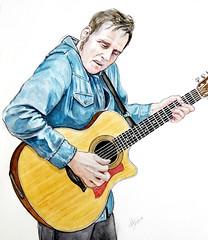 Juanma de Blueroomes (pepefarres ilustraciones) Tags: acuarela ilustración dibujo musico músics guitarra